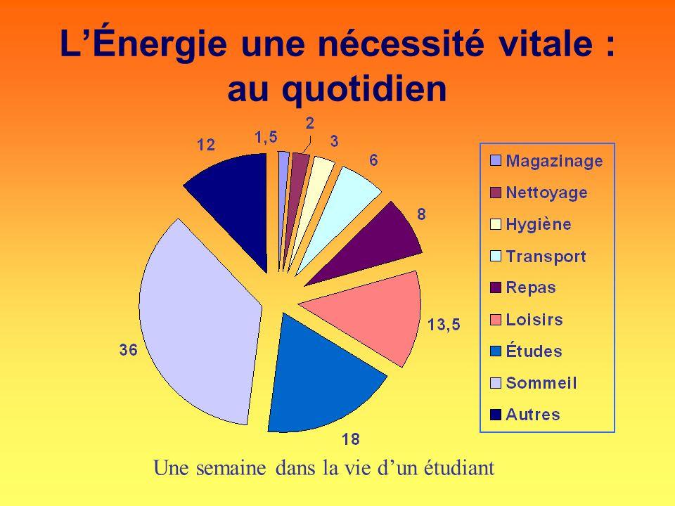 L'Énergie une nécessité vitale : au quotidien