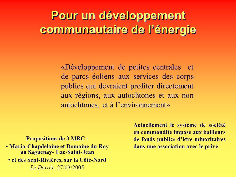 Pour un développement communautaire de l'énergie