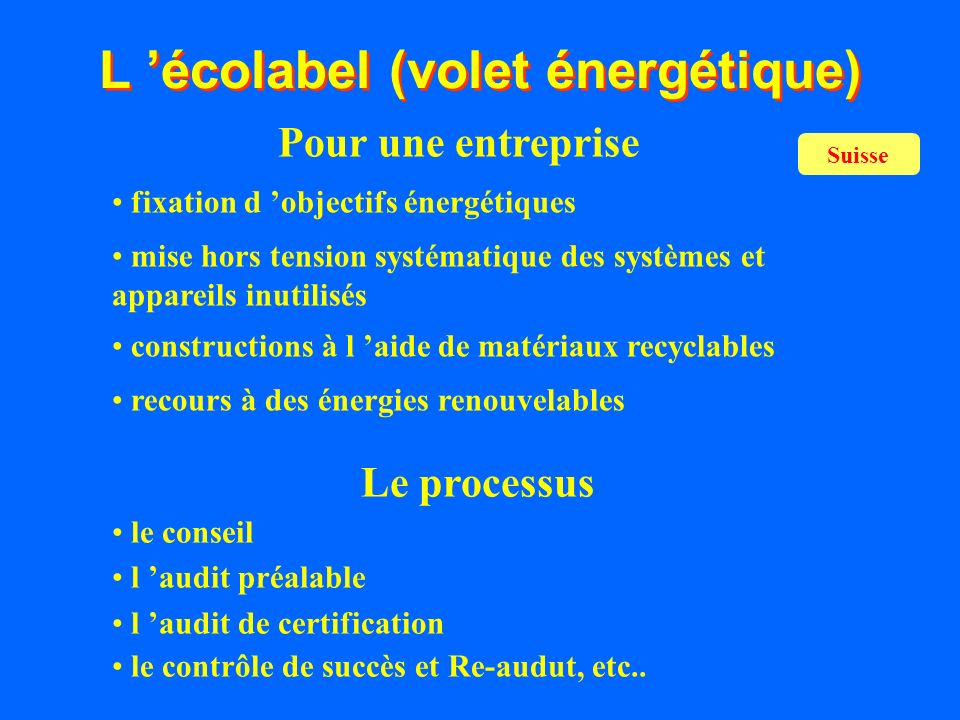 L 'écolabel (volet énergétique)
