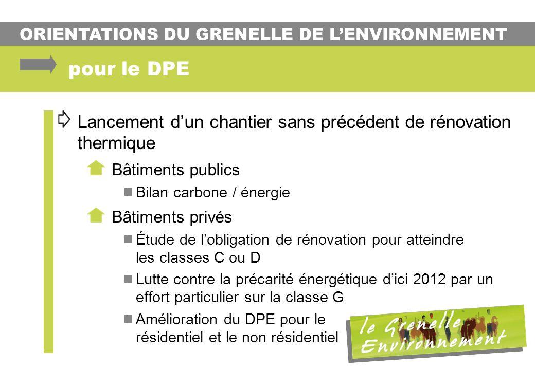 pour le DPE Lancement d'un chantier sans précédent de rénovation thermique. Bâtiments publics. Bilan carbone / énergie.