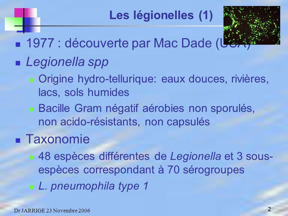 1977 : découverte par Mac Dade (USA) Legionella spp