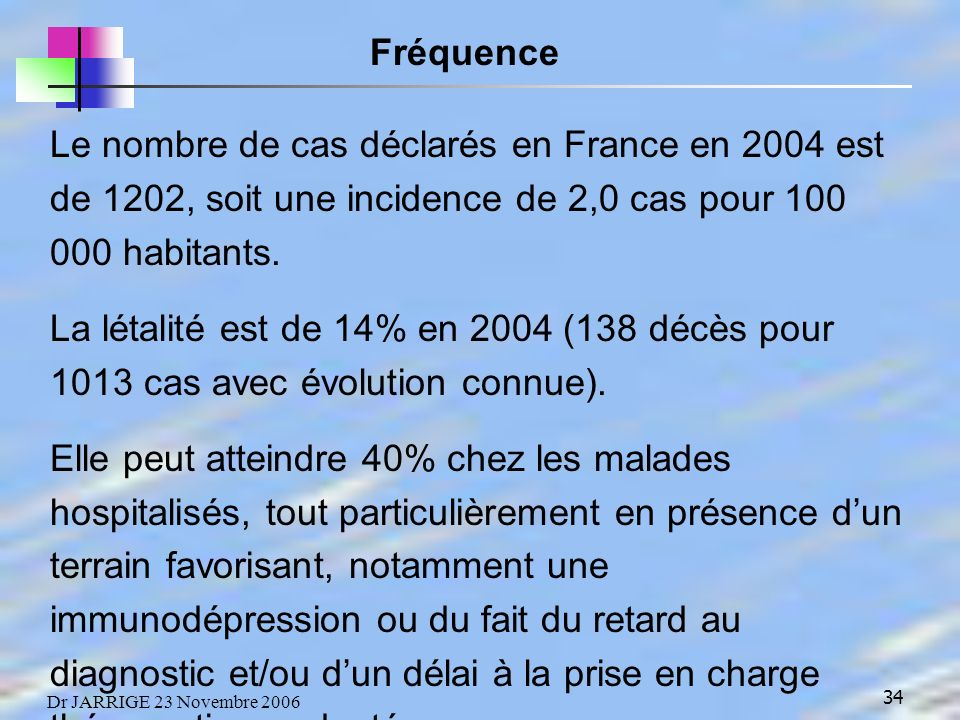 Fréquence Le nombre de cas déclarés en France en 2004 est de 1202, soit une incidence de 2,0 cas pour 100 000 habitants.