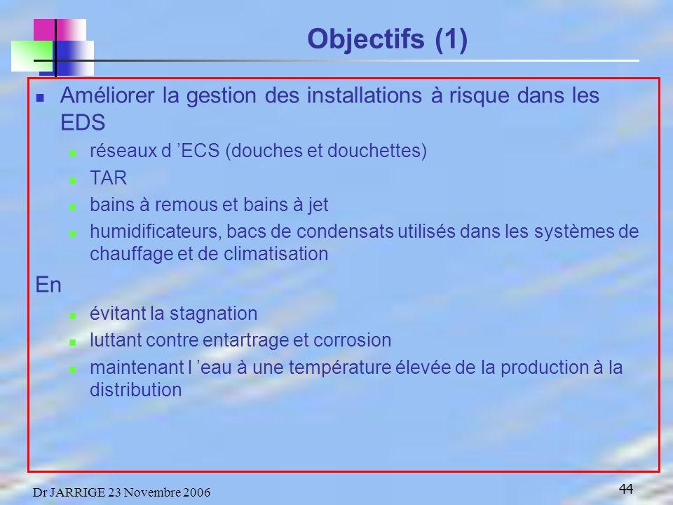 Objectifs (1) Améliorer la gestion des installations à risque dans les EDS. réseaux d 'ECS (douches et douchettes)