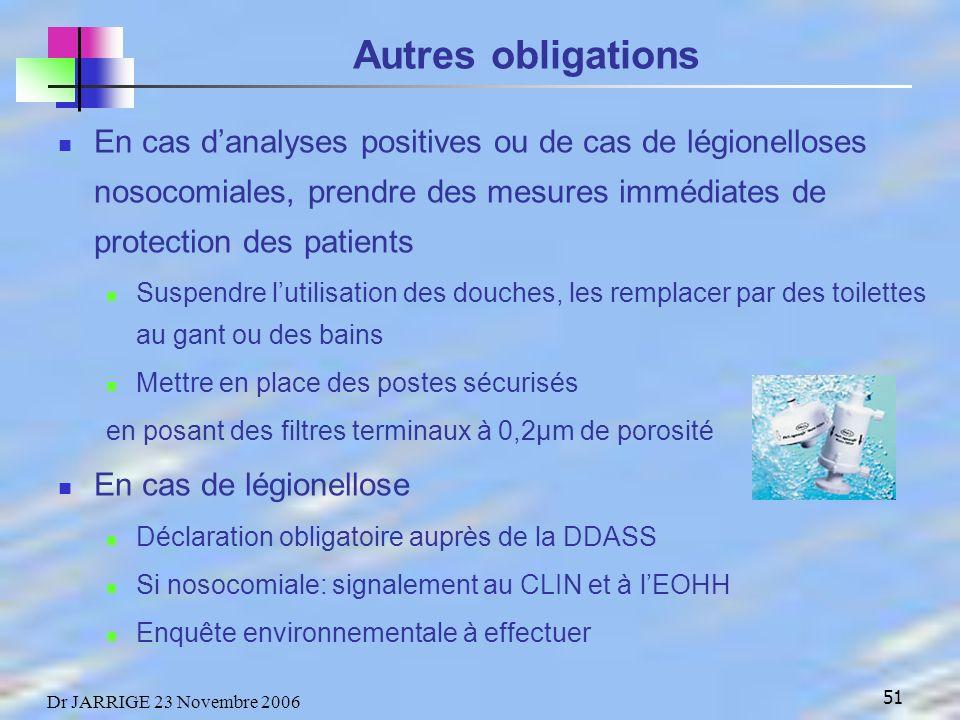 Autres obligations En cas d'analyses positives ou de cas de légionelloses nosocomiales, prendre des mesures immédiates de protection des patients.