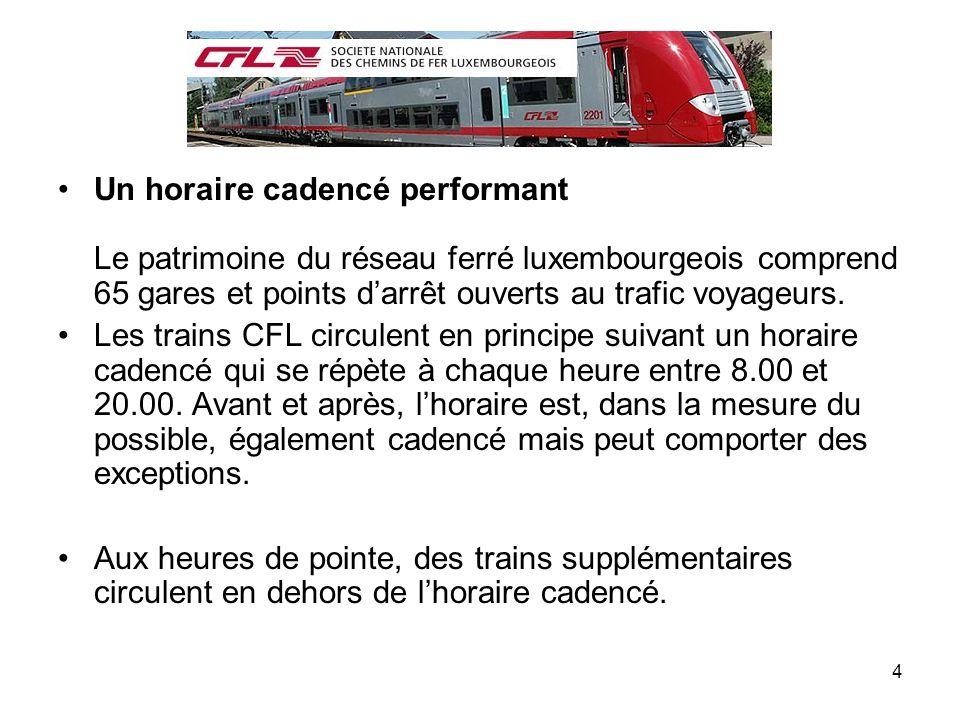 Un horaire cadencé performant Le patrimoine du réseau ferré luxembourgeois comprend 65 gares et points d'arrêt ouverts au trafic voyageurs.