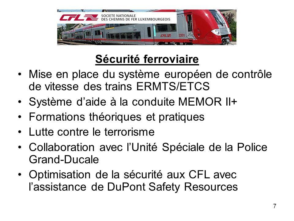 Sécurité ferroviaire Mise en place du système européen de contrôle de vitesse des trains ERMTS/ETCS.