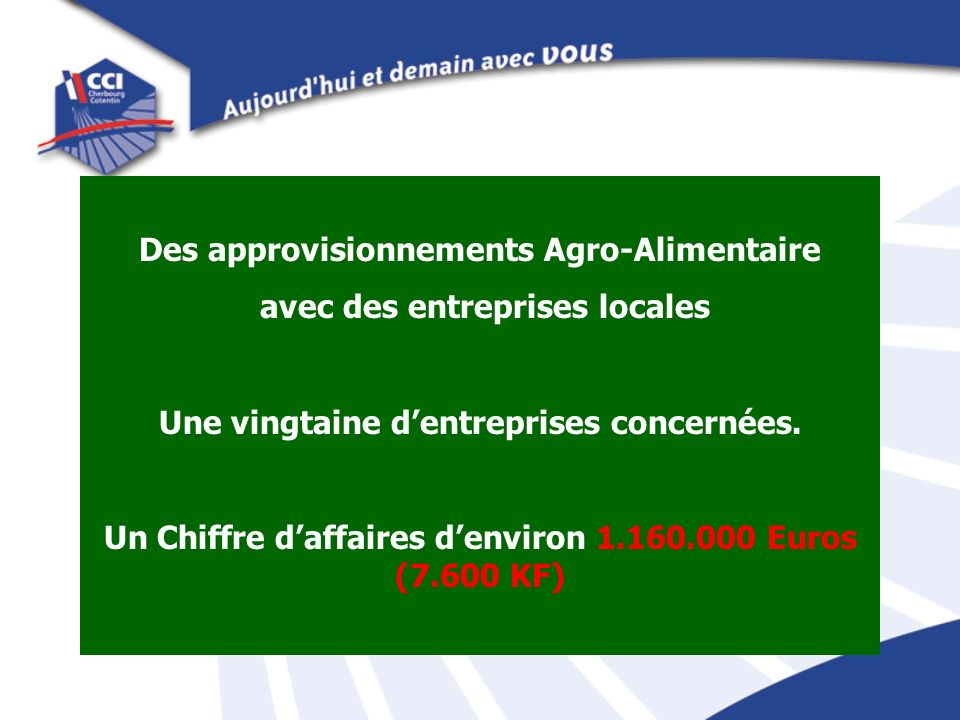 Des approvisionnements Agro-Alimentaire avec des entreprises locales