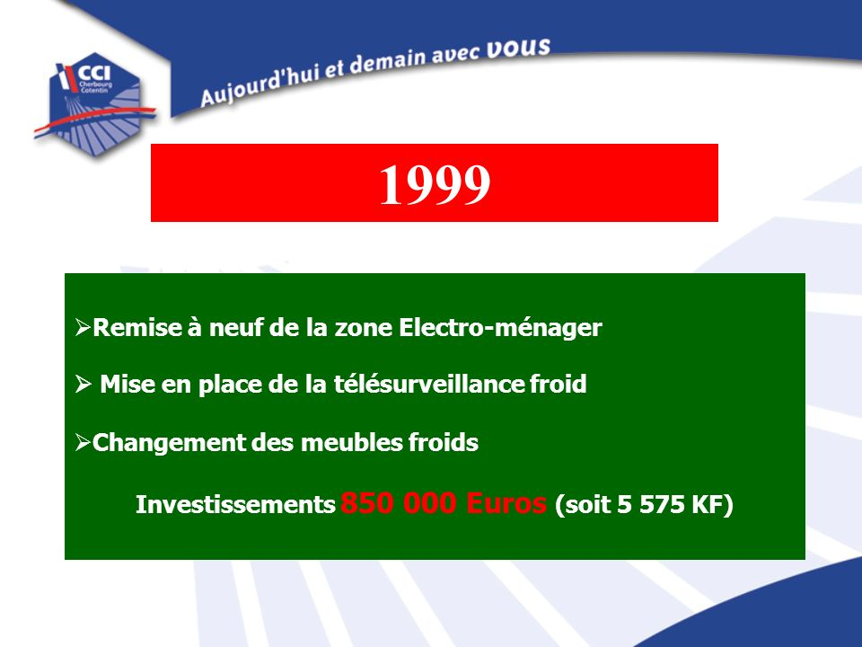 Investissements 850 000 Euros (soit 5 575 KF)