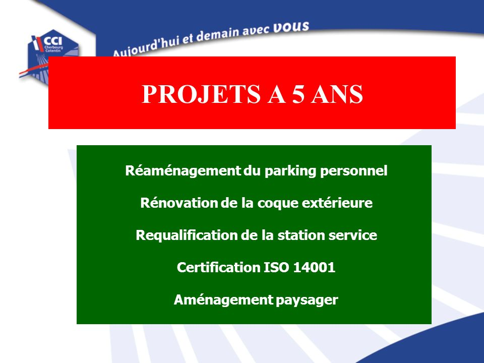 PROJETS A 5 ANS Réaménagement du parking personnel