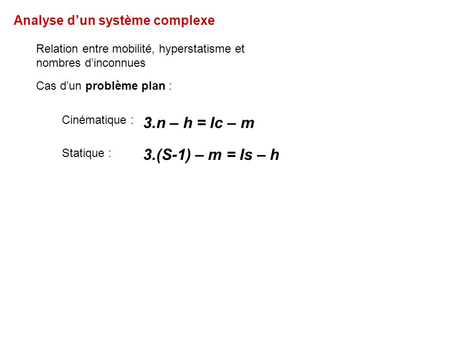 3.n – h = Ic – m 3.(S-1) – m = Is – h Analyse d'un système complexe