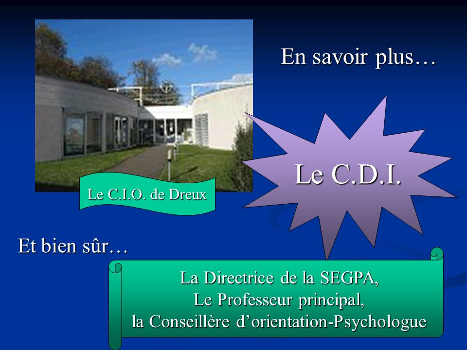 Le C.D.I. En savoir plus… Et bien sûr… La Directrice de la SEGPA,