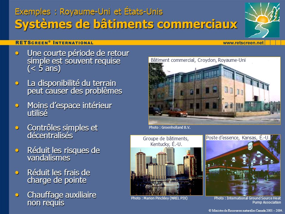 Exemples : Royaume-Uni et États-Unis Systèmes de bâtiments commerciaux