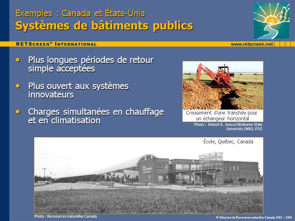 Exemples : Canada et États-Unis Systèmes de bâtiments publics