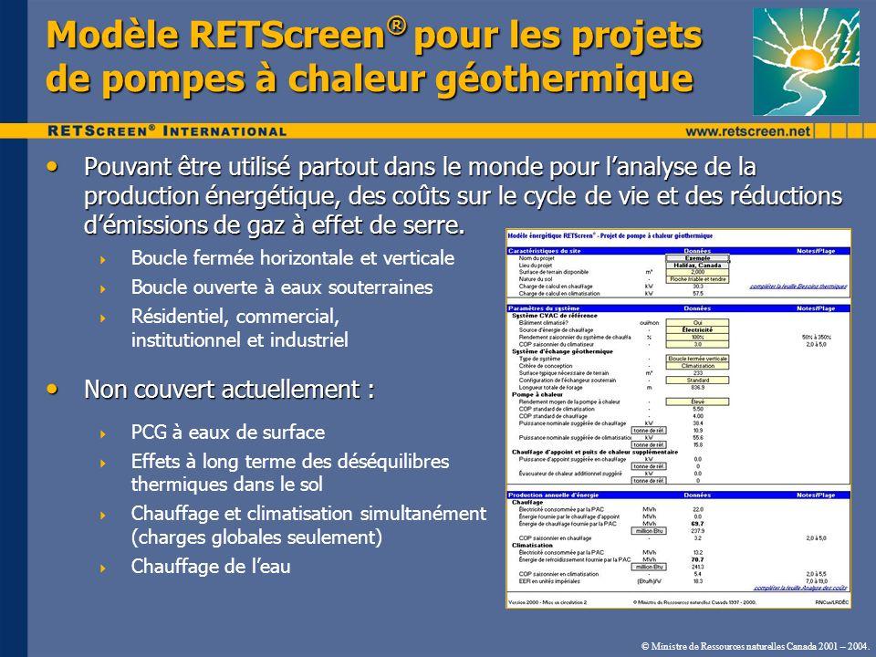Modèle RETScreen® pour les projets de pompes à chaleur géothermique