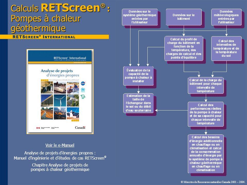 Calculs RETScreen® : Pompes à chaleur géothermique