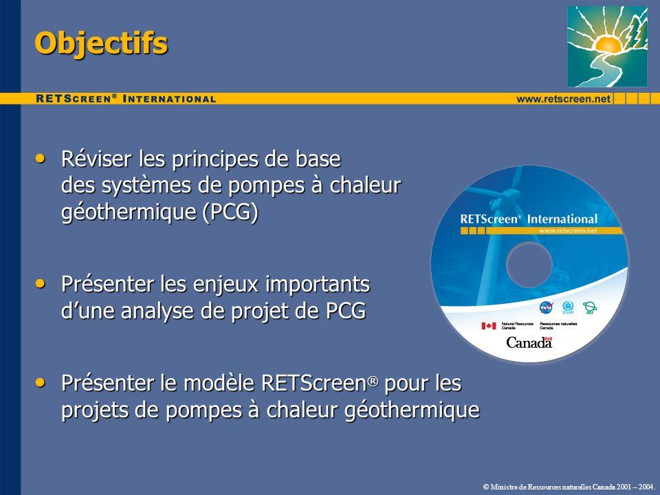 Objectifs Réviser les principes de base des systèmes de pompes à chaleur géothermique (PCG)