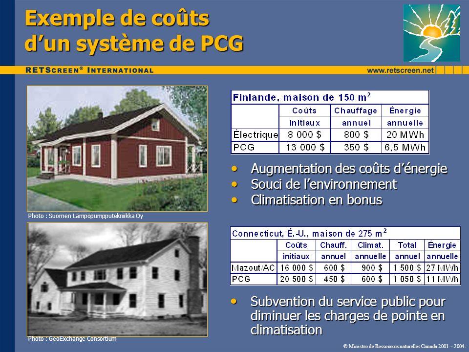 Exemple de coûts d'un système de PCG