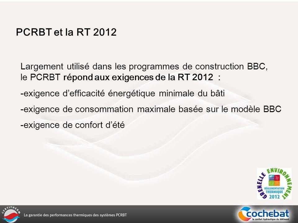 PCRBT et la RT 2012 Largement utilisé dans les programmes de construction BBC, le PCRBT répond aux exigences de la RT 2012 :