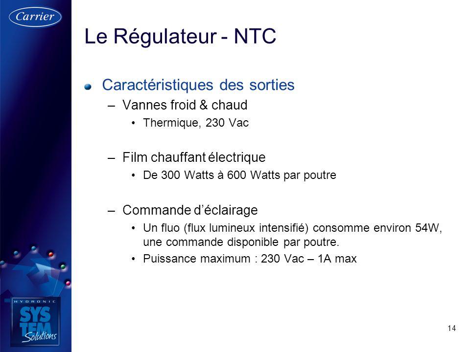 Le Régulateur - NTC Caractéristiques des sorties Vannes froid & chaud