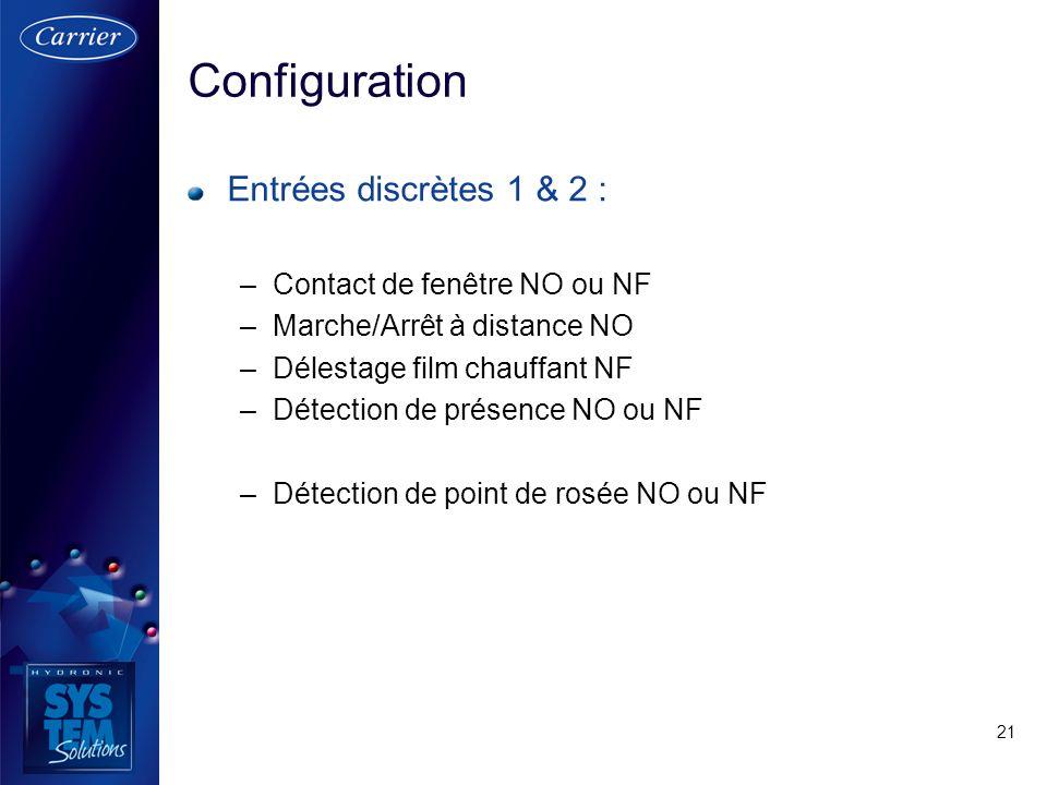 Configuration Entrées discrètes 1 & 2 : Contact de fenêtre NO ou NF