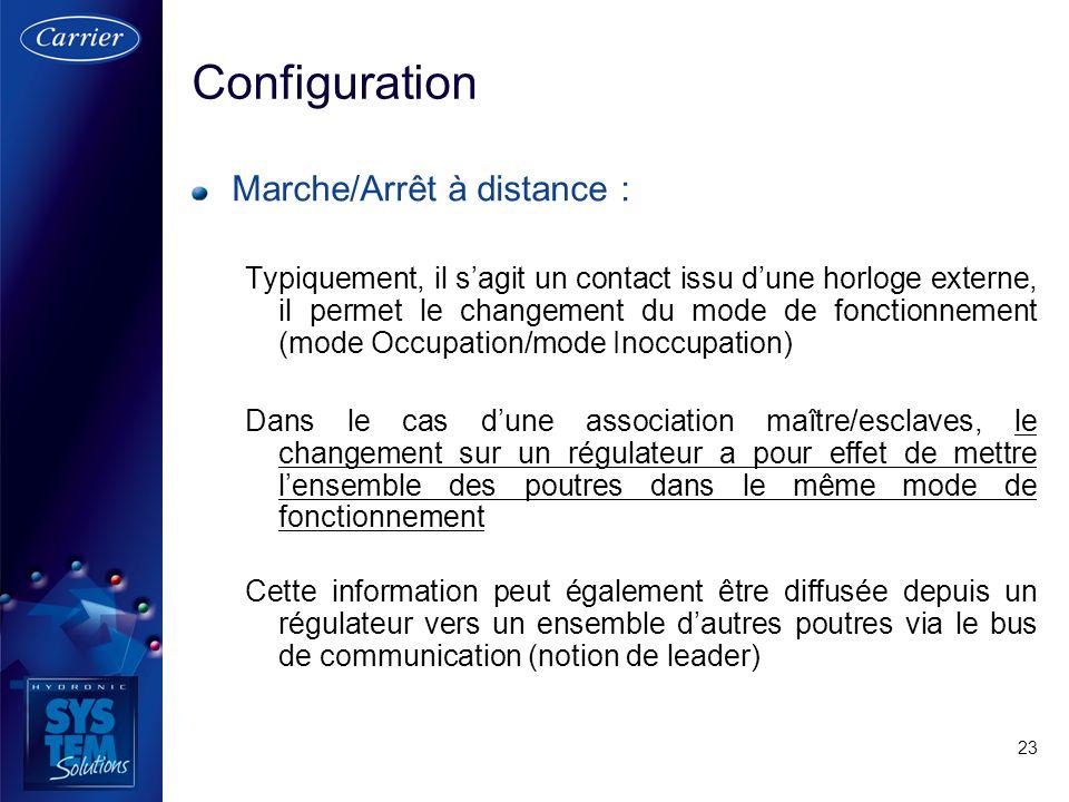 Configuration Marche/Arrêt à distance :