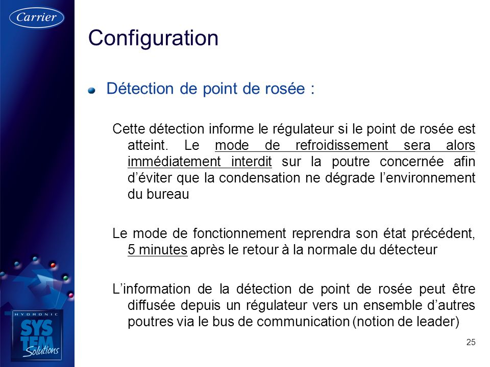 Configuration Détection de point de rosée :