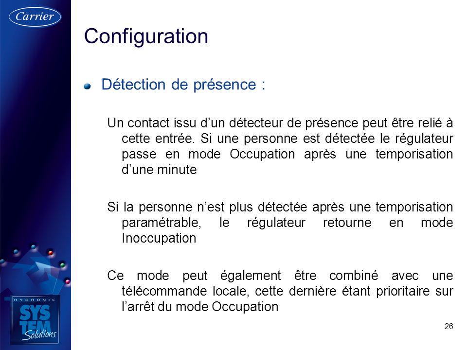 Configuration Détection de présence :