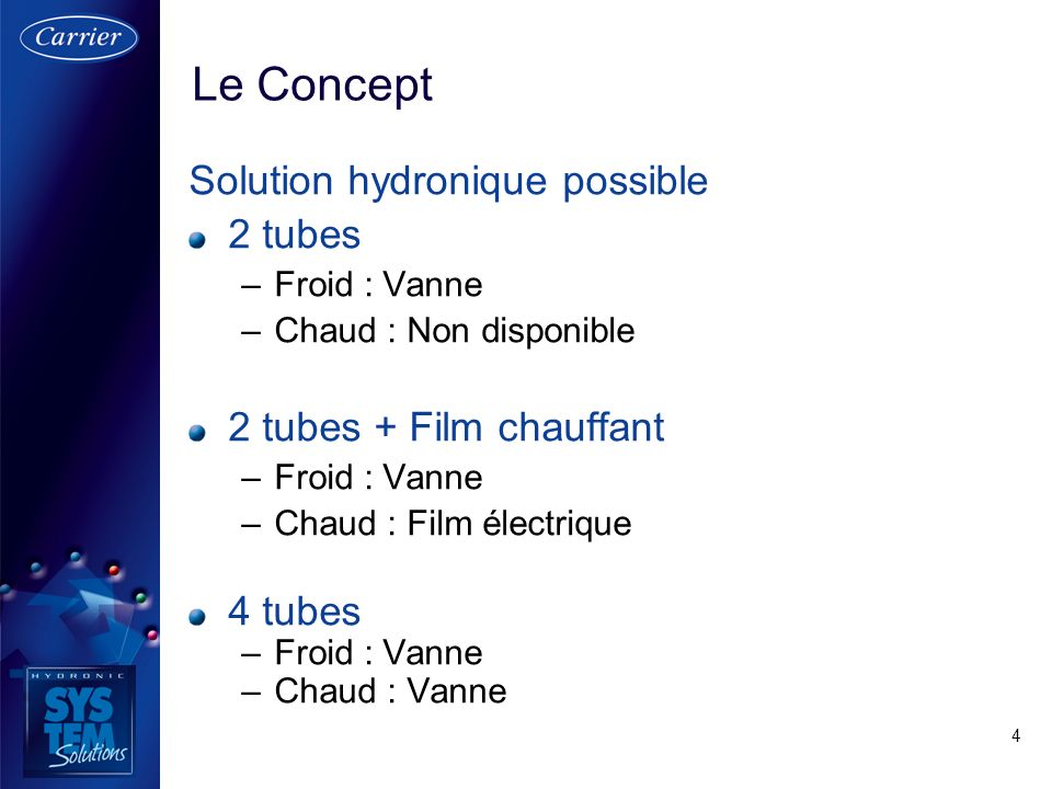 Le Concept Solution hydronique possible 2 tubes