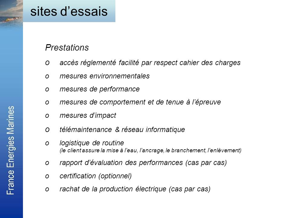 sites d'essais Prestations