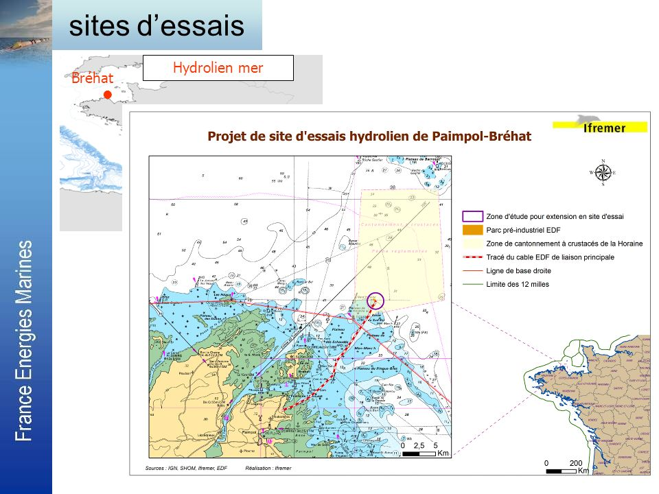 sites d'essais Hydrolien mer Bréhat 