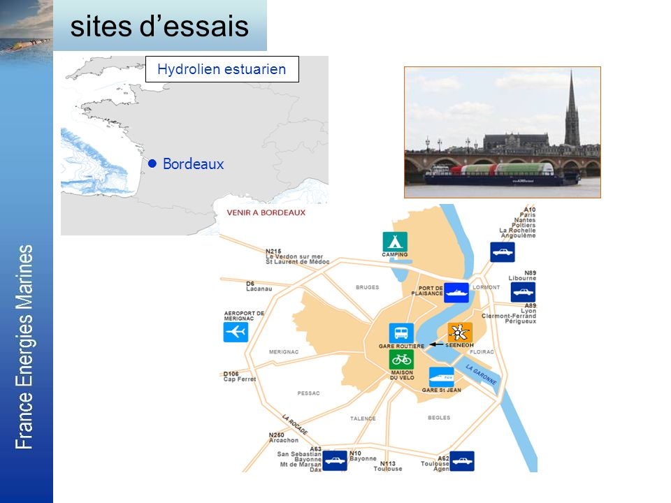 sites d'essais Hydrolien estuarien  Bordeaux