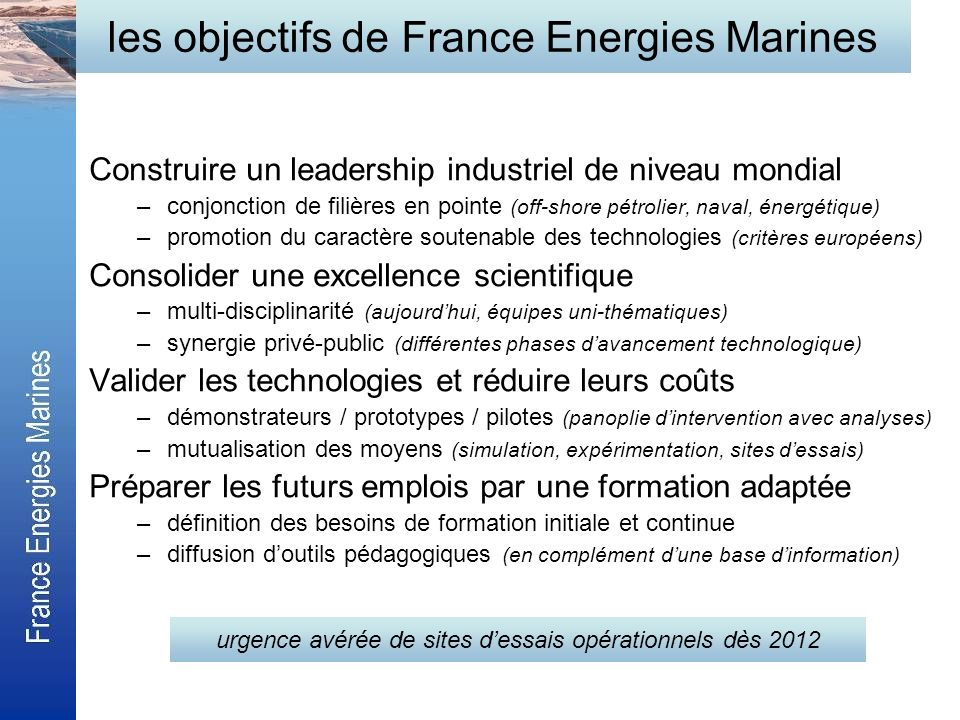 les objectifs de France Energies Marines