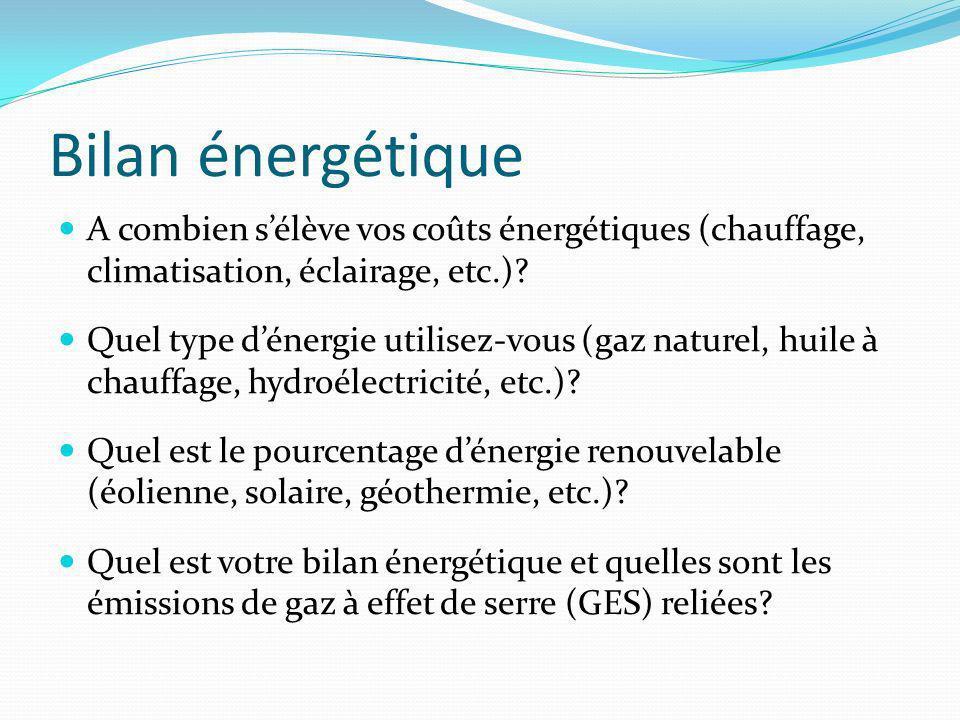 Bilan énergétique A combien s'élève vos coûts énergétiques (chauffage, climatisation, éclairage, etc.)