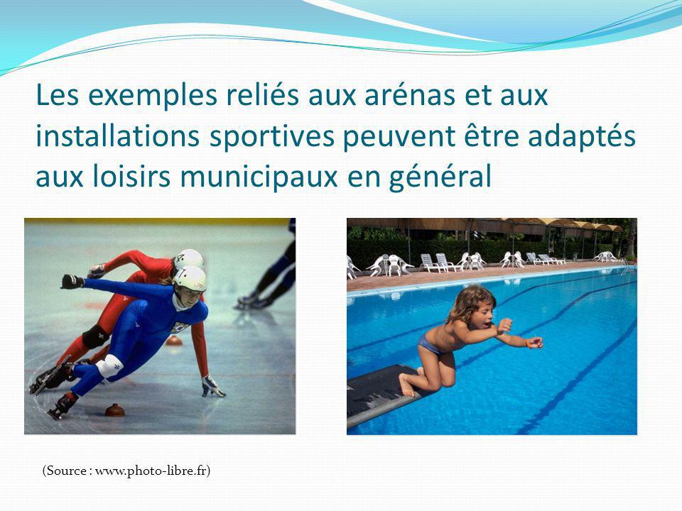Les exemples reliés aux arénas et aux installations sportives peuvent être adaptés aux loisirs municipaux en général