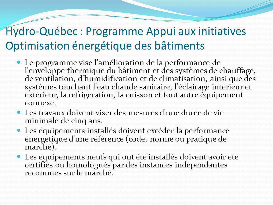 Hydro-Québec : Programme Appui aux initiatives Optimisation énergétique des bâtiments