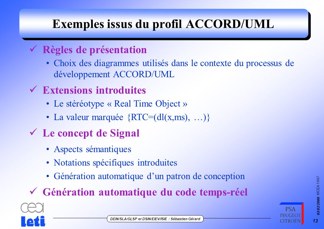 Exemples issus du profil ACCORD/UML