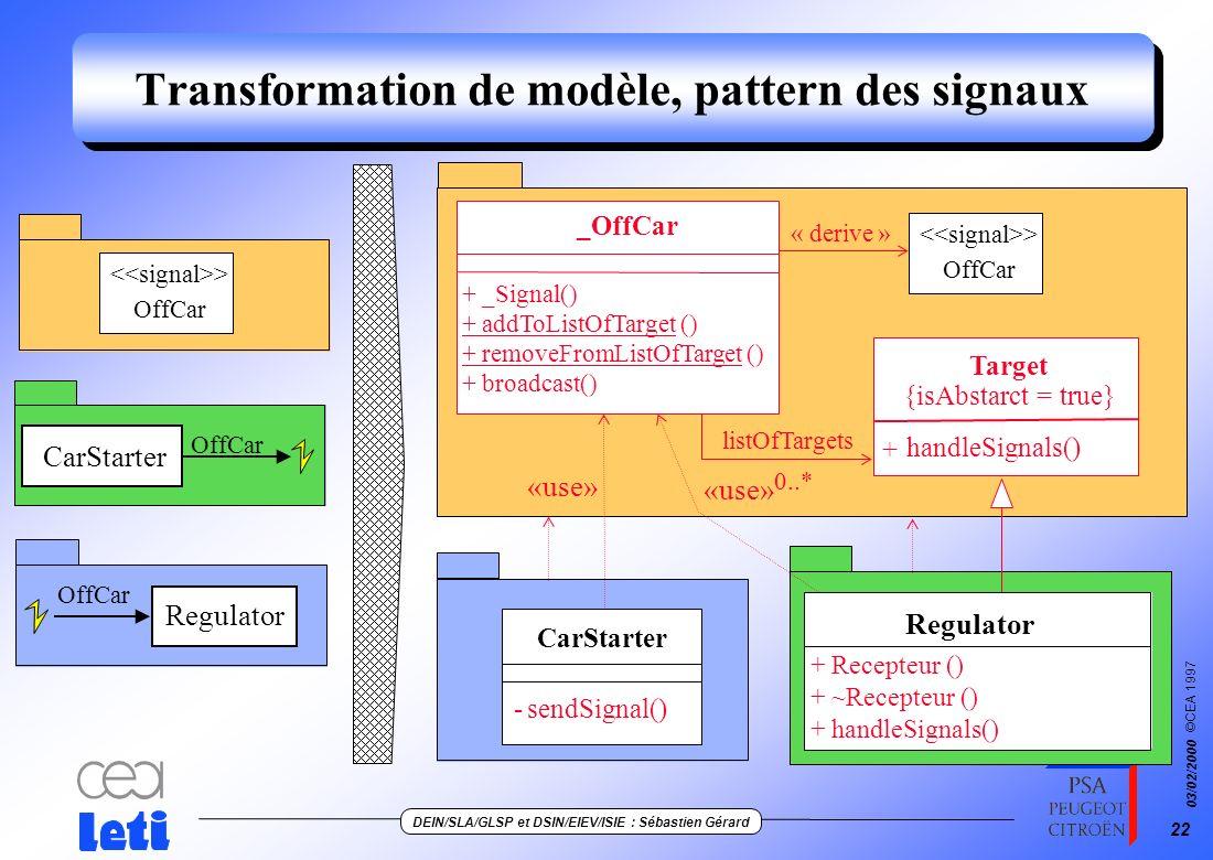 Transformation de modèle, pattern des signaux