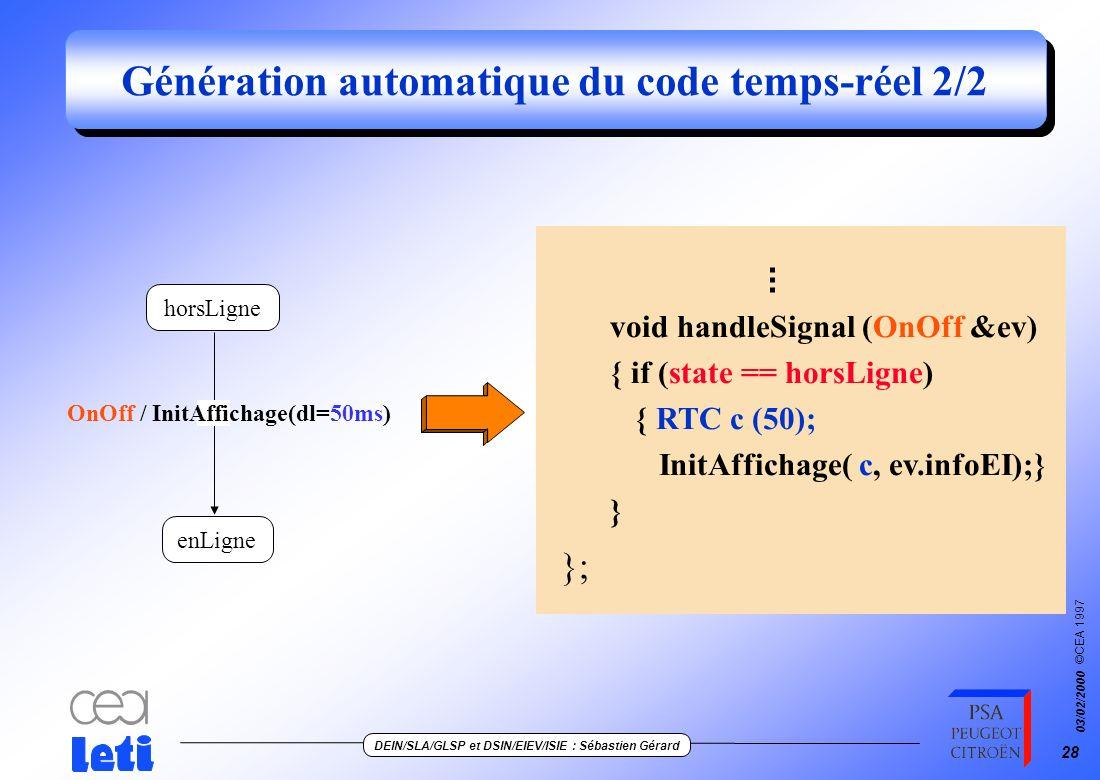 Génération automatique du code temps-réel 2/2