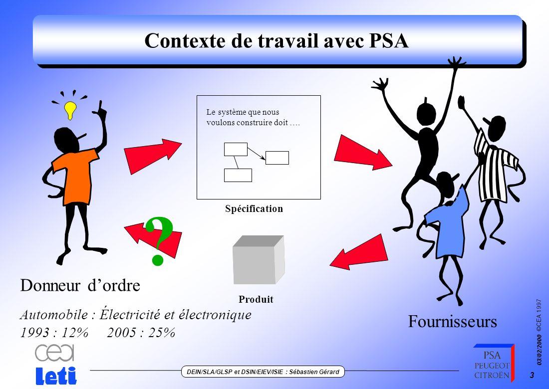 Contexte de travail avec PSA