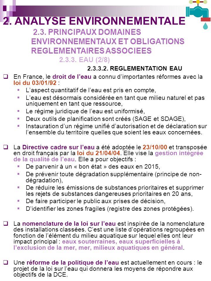 2. ANALYSE ENVIRONNEMENTALE. 2. 3. PRINCIPAUX DOMAINES