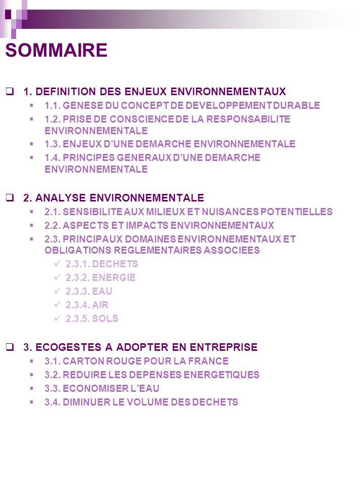 SOMMAIRE 1. DEFINITION DES ENJEUX ENVIRONNEMENTAUX
