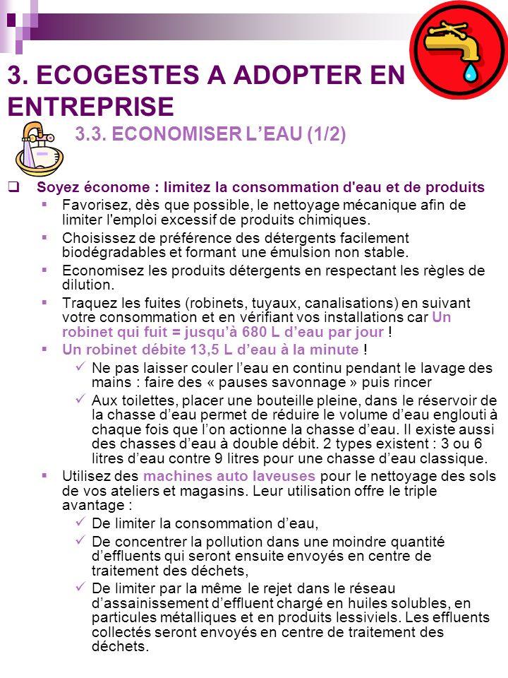 3. ECOGESTES A ADOPTER EN ENTREPRISE 3.3. ECONOMISER L'EAU (1/2)