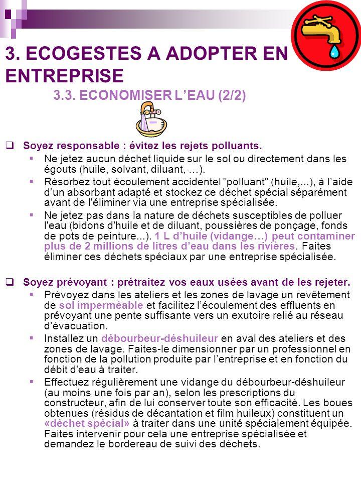 3. ECOGESTES A ADOPTER EN ENTREPRISE 3.3. ECONOMISER L'EAU (2/2)
