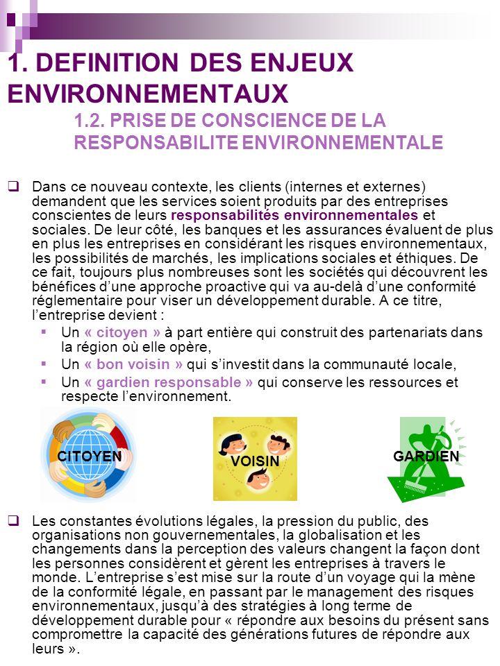1. DEFINITION DES ENJEUX ENVIRONNEMENTAUX. 1. 2