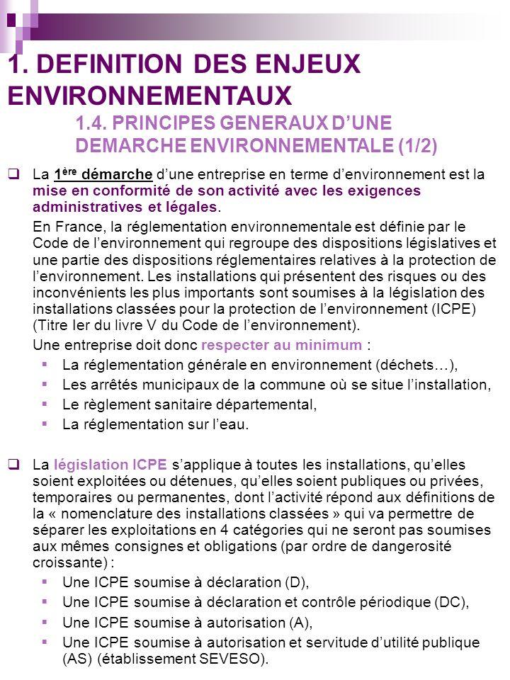 1. DEFINITION DES ENJEUX ENVIRONNEMENTAUX. 1. 4