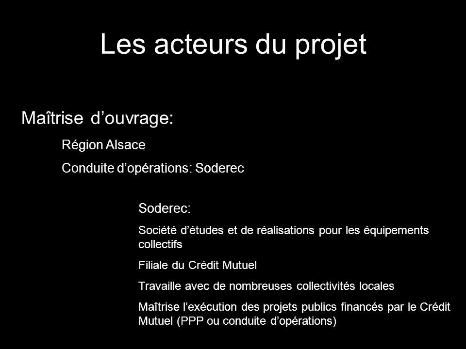 Les acteurs du projet Maîtrise d'ouvrage: Région Alsace