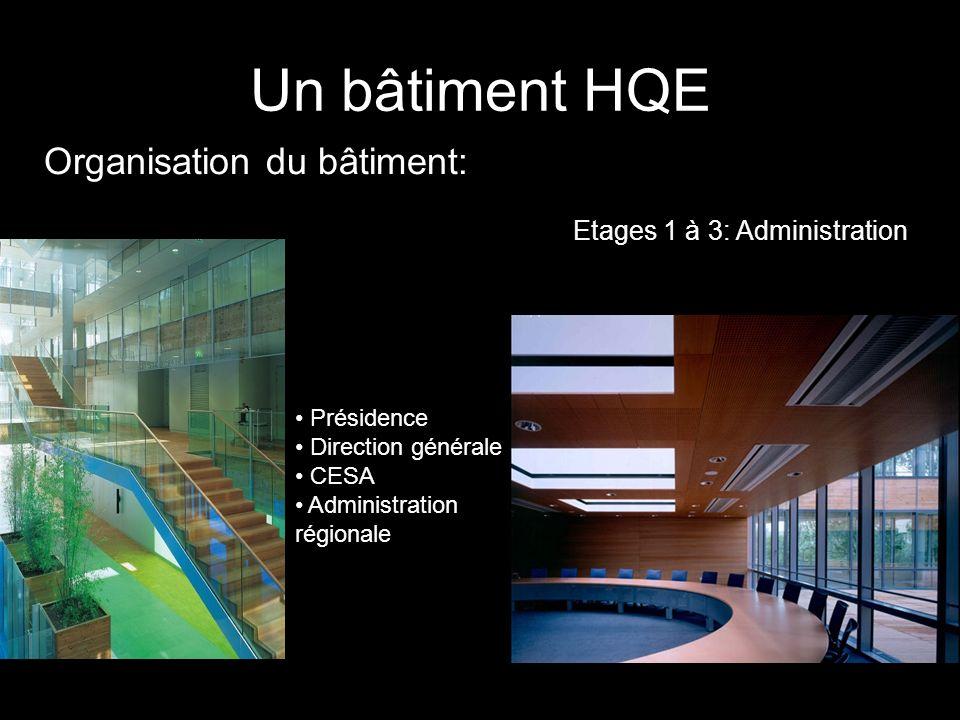 Un bâtiment HQE Organisation du bâtiment: Etages 1 à 3: Administration
