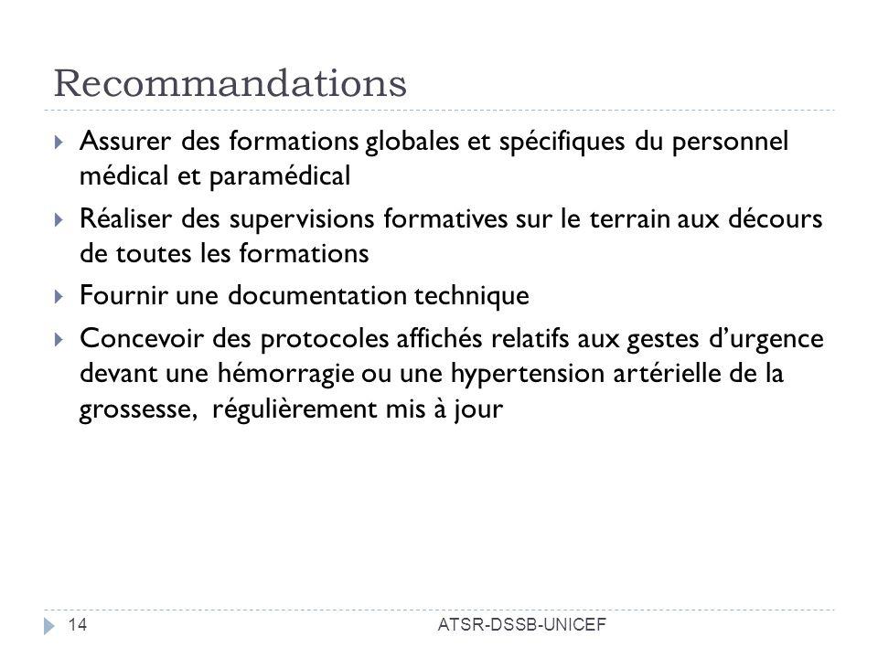 Recommandations Assurer des formations globales et spécifiques du personnel médical et paramédical.