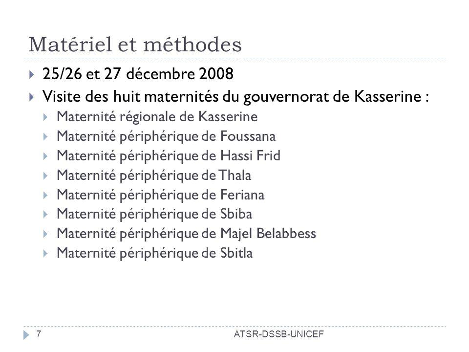 Matériel et méthodes 25/26 et 27 décembre 2008