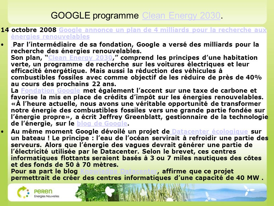 GOOGLE programme Clean Energy 2030.